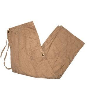 Express 100% Linen Tan Beige Khaki Cargo Pants